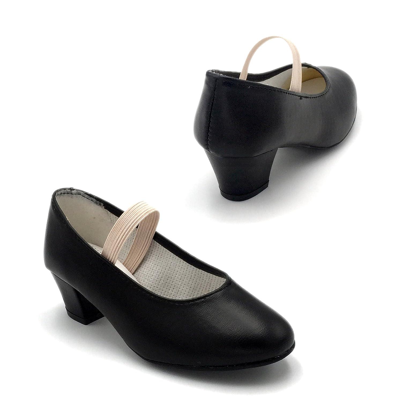 FLAMENKITAS Calzado de Danza Para Mujer - Zapatos Flamenca Goma - Hecho EN España - Principiante - Color - Negro