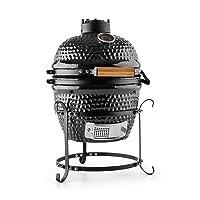 Princesize Klarstein Keramikgrill schwarz XXL Keramik Ceramic Smoker Garten ✔ Deckel ✔ oval ✔ stehend grillen ✔ Grillen mit Holzkohle