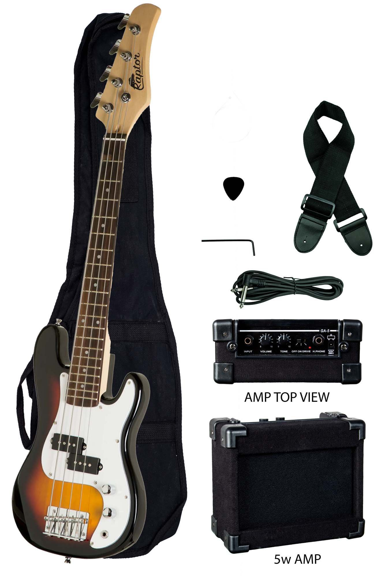 Raptor EB38CO-TS 3/4 Size Kids Junior 4 String Electric P Bass Package, Tobacco-Burst with Gig Bag, Strap, Cable, Pick, 5 W amp, 38'' L