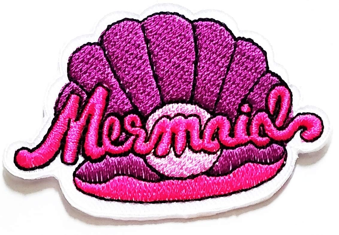 Nipitshop Patches Pink Sea Shell Seashell Ocean Summer Beach Mermaid Cartoon Kids Patch Embroidered Iron On Patch for Clothes Backpacks T-Shirt Jeans Skirt Vests Scarf Hat Bag