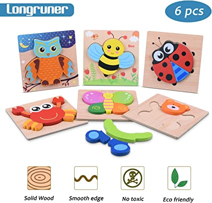 Toys for Baby Colorful Wooden Puzzle Animal Educational Developmental Baby T1