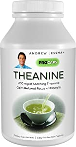Andrew Lessman Theanine 200 mg - 360 Capsules - Promotes The Production of The Neurotransmitters Dopamine and Serotonin. Natural Calm & Relaxed Focus Without Drowsiness. Easy-to-Swallow Capsules.