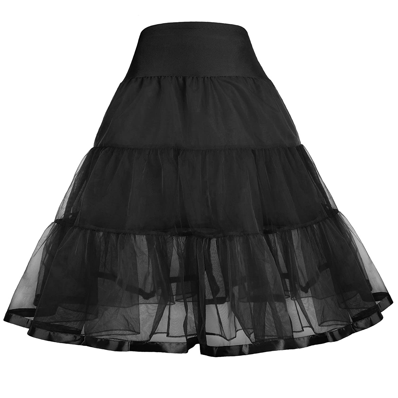GRACE KARIN Girls Two Layers Tiered Retro Vintage Dress Crinoline Underskirt Petticoat
