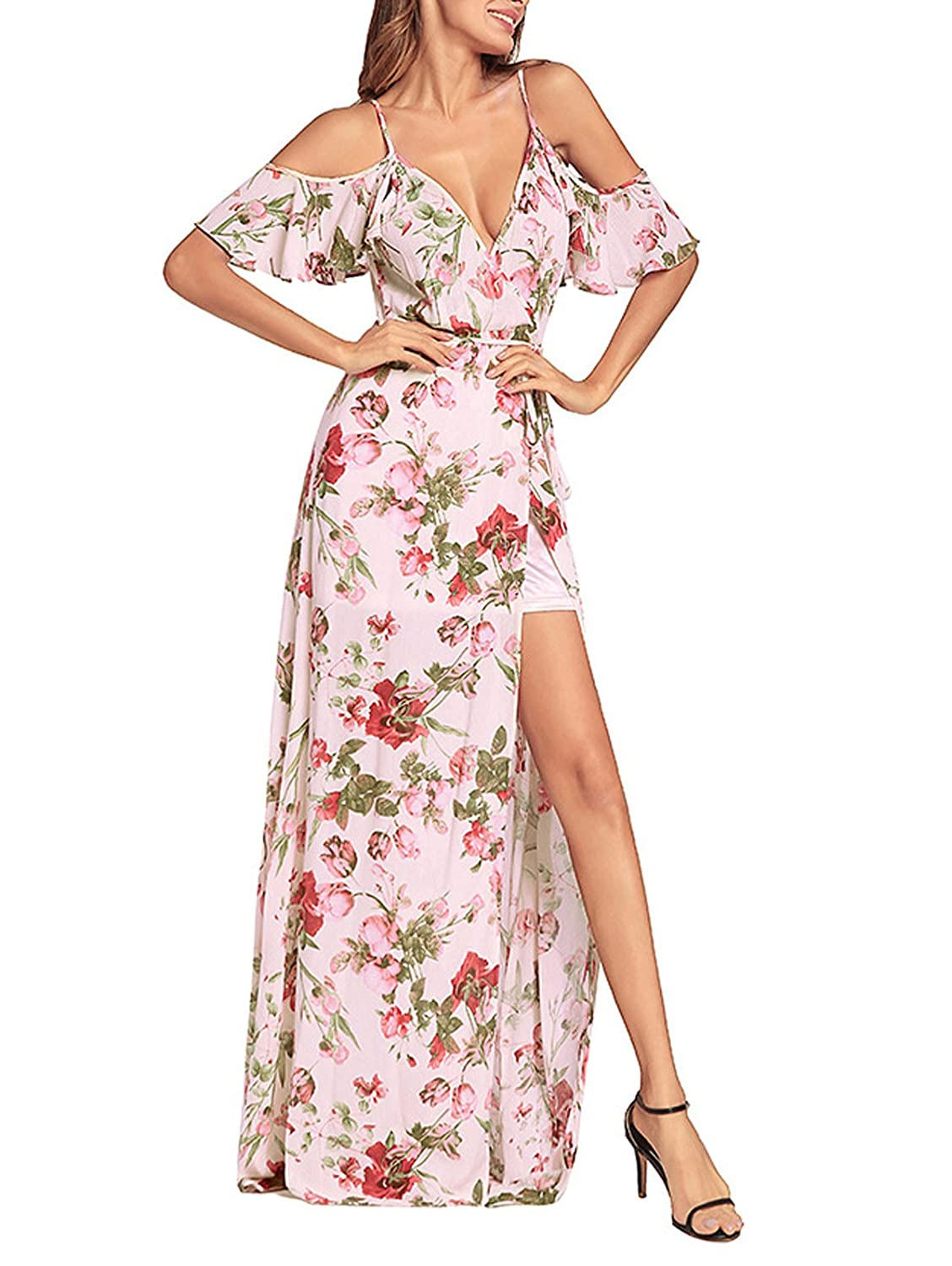 a8923228db9 Amazon.com  SHIBEVER Women s Summer Floral Maxi Dress Boho High Slit Cold  Shoulder Wrap Long Dresses Pink 2XL  Clothing