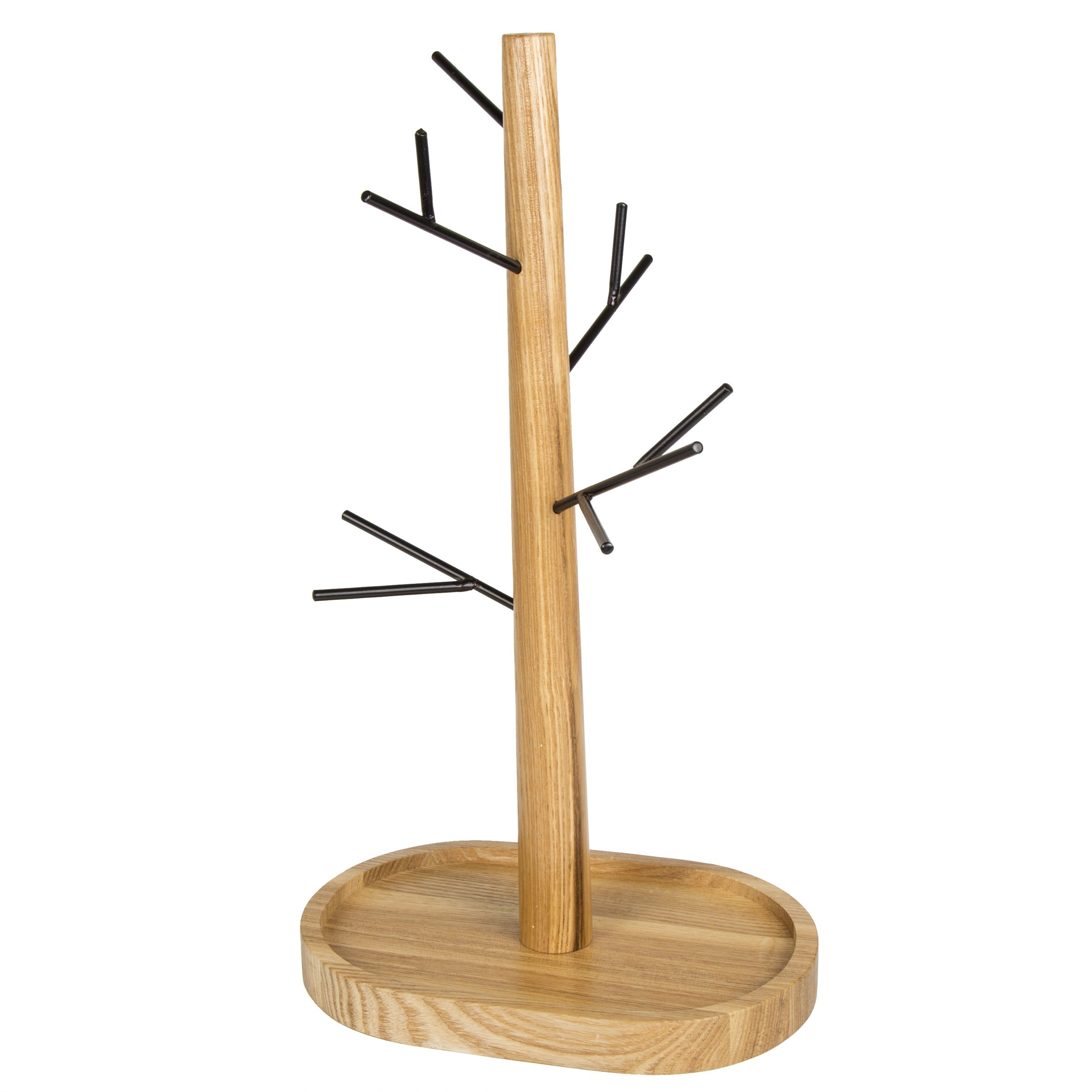 Creative Home Black Wire Jewelry Tree Stand, Hanger Organizer Painting and Acacia Wood Tray