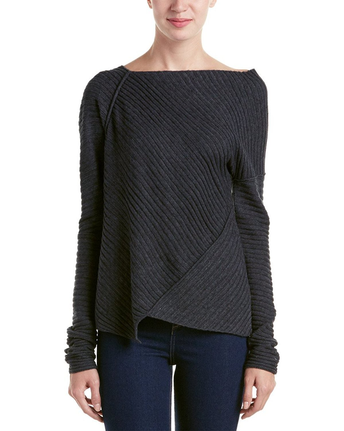 Free People Womens Love and Harmony Asymmetrical Sweater Dark Gray Charcoal Small