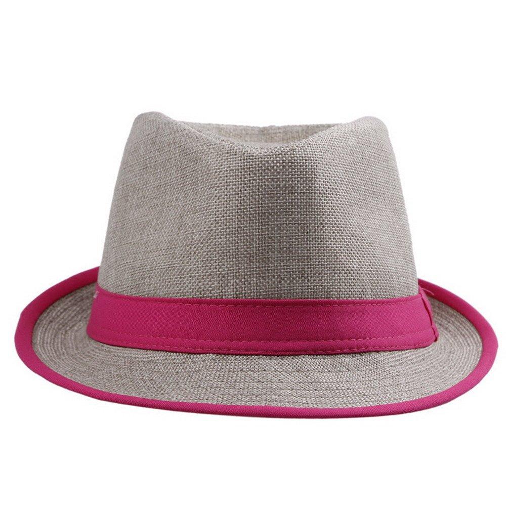 Orien Unisex Men Women Flax Fedora Band Trilby Hat Beach Sun Jazz Cap