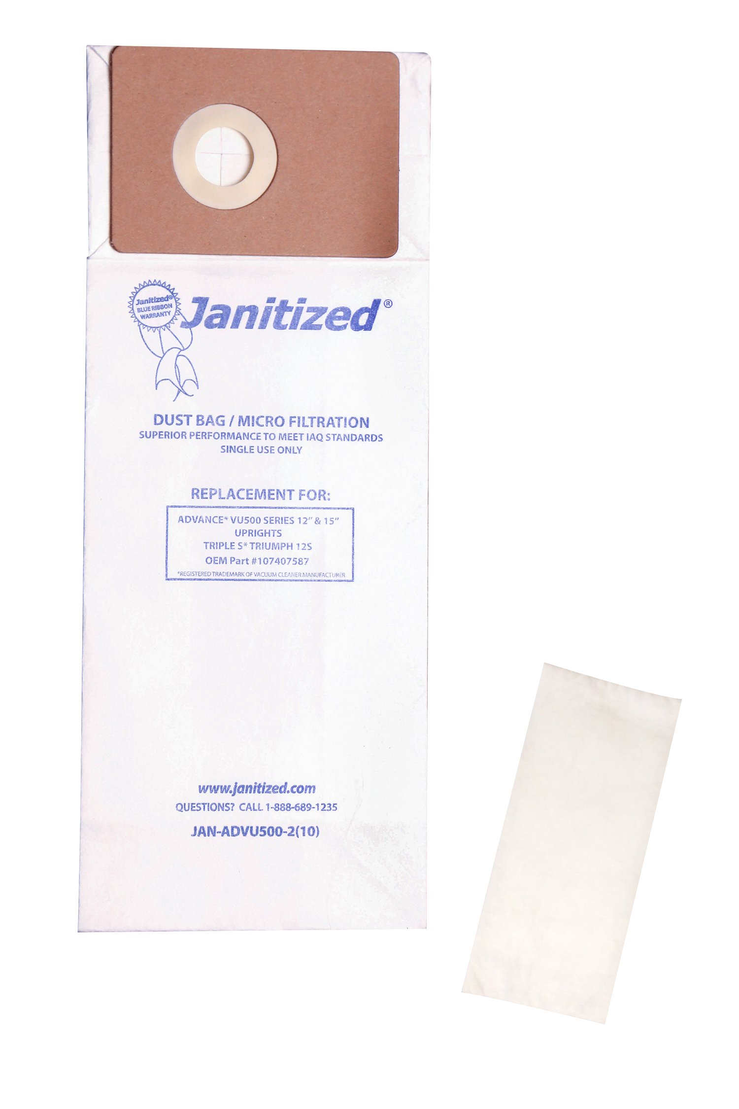 Janitized JAN-ADVU500-2(10) Premium Replacement Commercial Vacuum Paper Bag for Advance VU500 Vacuum Cleaners, OEM#107407587, 107404820 (Pack of 100)