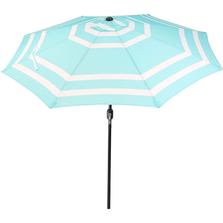 Sunnydaze 9 Foot Outdoor Patio Umbrella with Push Button Tilt Crank, Aluminum, Teal Stripe