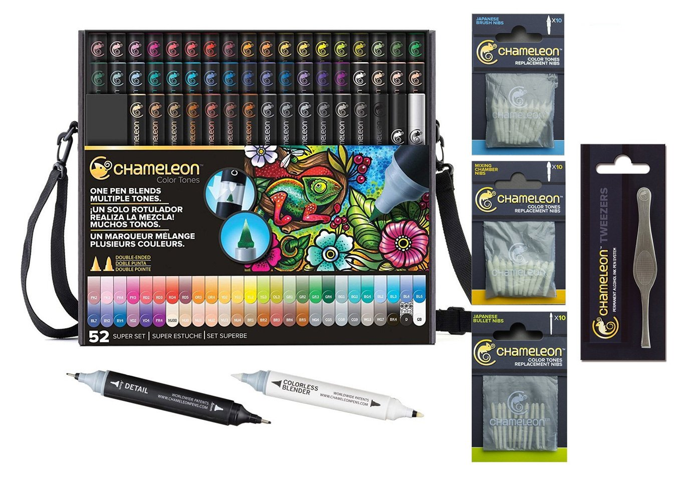 Chameleon Deluxe Bundle 52-Pen Set with Case, Extra Blender, Extra Detail Pen and 4 Packs of Color Cards by Chameleon