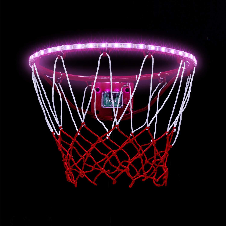 PROODI LED Basketball Hoop Lights, Automatically Light Up Basketball Rim Lights After The Basketball is Scored, Multi Colors Horse Race Light, Hight Brightness 3.5 Watts Led, Waterproof