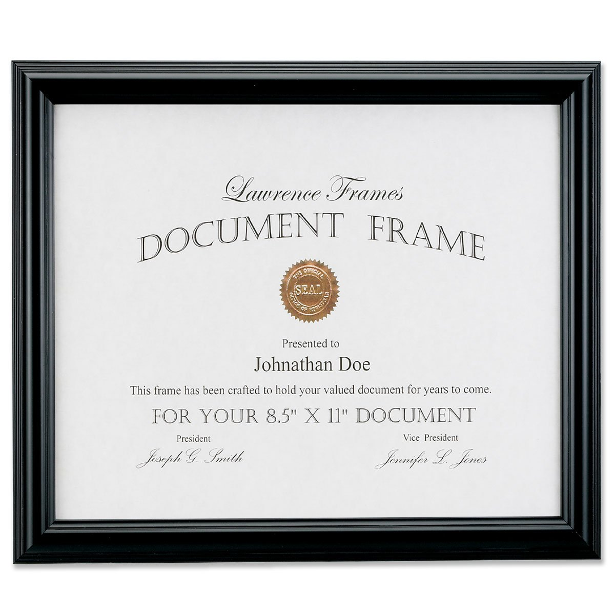 Lawrence Frames Black Document Picture Frame, 8.5 by 11-Inch 185081
