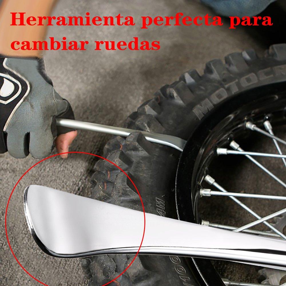 BTSKY 3Pcs Palancas para Neumático Cucharas Herramienta de Reparación de Llanta Rueda para Motocicleta Bicicleta con Asa de Caucho Sintético Largo/Corto(Con ...