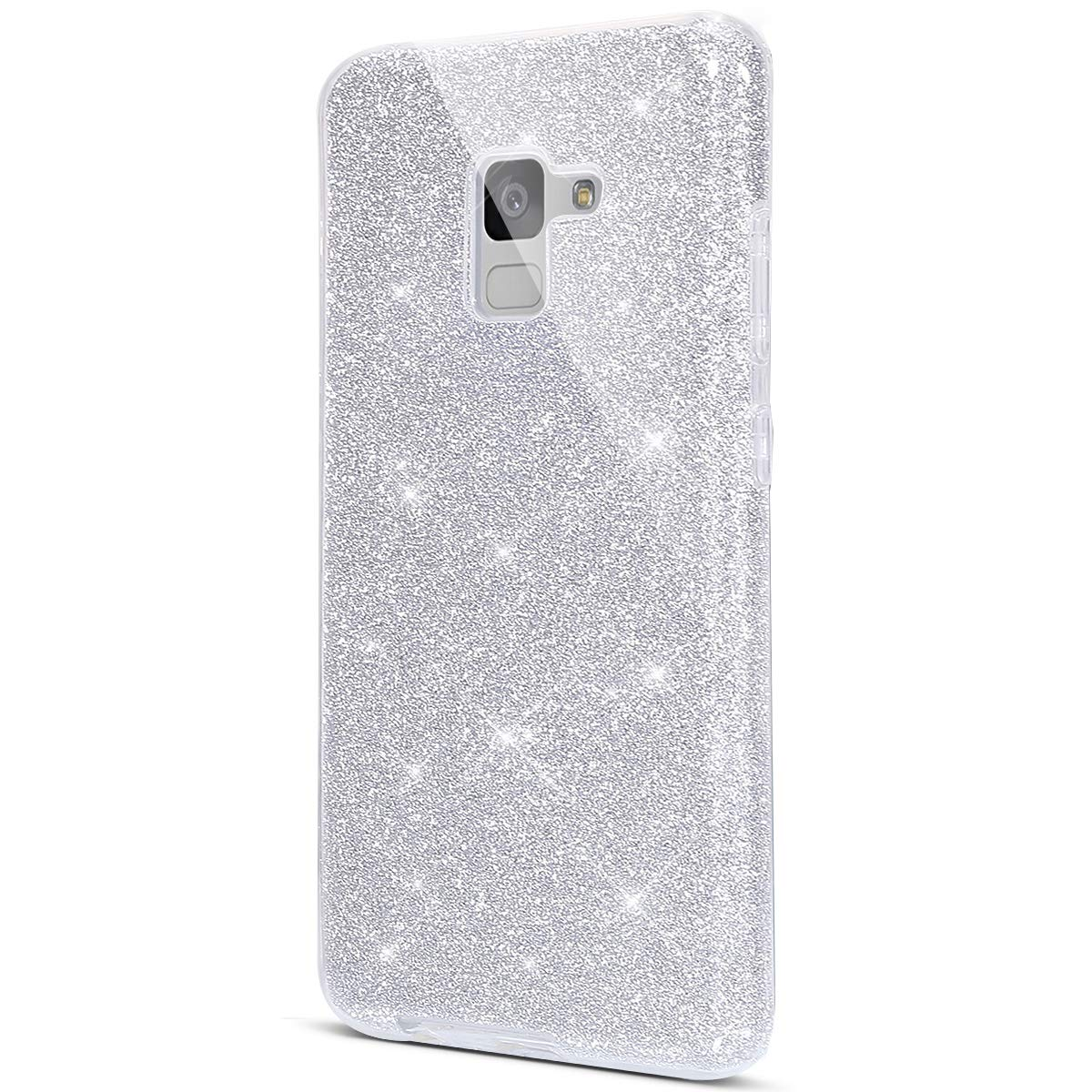 Surakey Cover Samsung Galaxy A7 2018, Custodia in Silicone Brillantini Glitter Premium Ibrida Gel Case Antiurto Bumper [Design 3 in 1] Sottile PC Paillettes Protettiva Cover per Galaxy A7 2018,Oro SUR03657