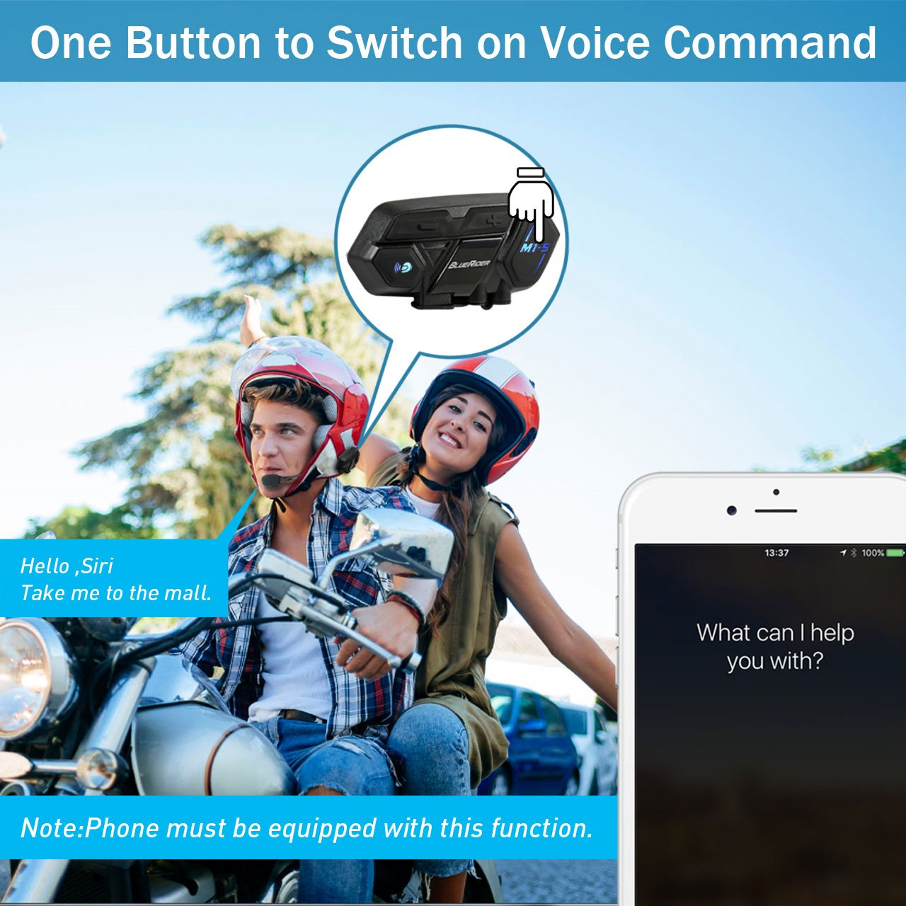 Motorcycle Bluetooth 4.1 Helmet Headset and Intercom Communication Systems Kit, Supports 8 riders group intercom, Handsfree Calls Voice Command 12hrs with Speakers headphones for Motorbike Skiing by BIBENE (Image #4)