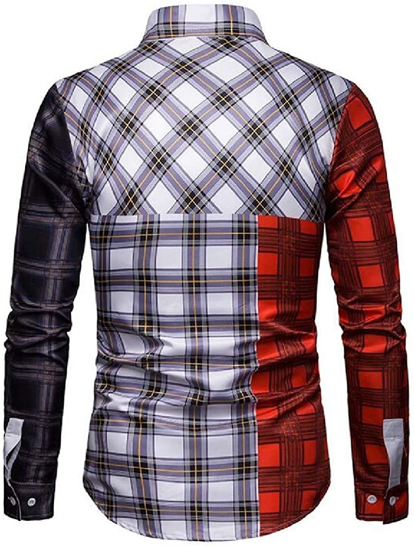 YYear Mens Button Up Business Long Sleeve Contrast Plaid Dress Shirts