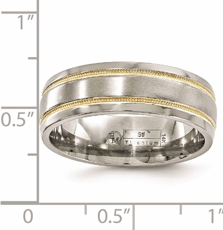 Wedding Bands Classic Bands Milgrain Bands Edward Mirell Titanium Brushed and Polished Millgrain 6mm Band Size 13