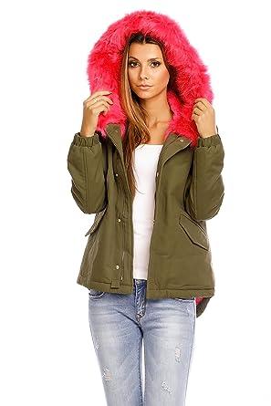 Damen Jacke Parka Mantel Kapuze Kunstfell Fell Pelz Winter JS-238  Amazon.de   Bekleidung bf5d162033