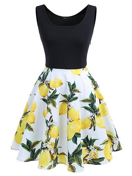 IVNIS Vestido Corto Mujer Estampado Sin Mangas Retro Fiesta con Bolsillo Lemon XL