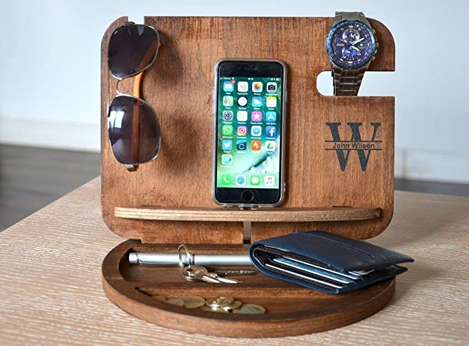 fa96df2381e4 Amazon.com  Wood Desk Tray Desk Organizer Wood Organizer Mens Valet Mens  Christmas gifts Mens Wood Organizer Gift ideas for men Boyfriend gifts   Handmade