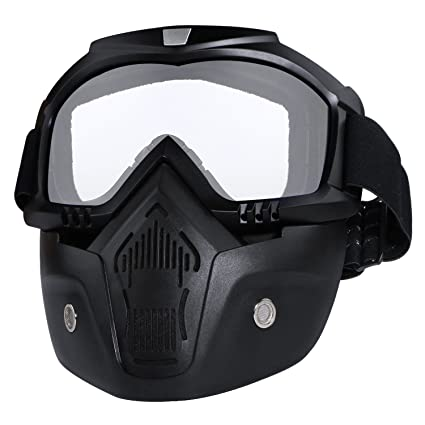 ddcf4bb2a9 Motorcycle Helmet Riding Goggles Glasses with Removable Face Mask Detachable  Fog-proof Warm Goggles Mouth