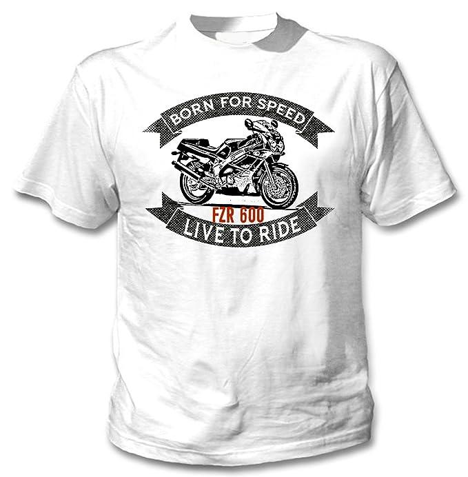 Teesandengines YAMAHA FZR 600 Camiseta blanca para hombre de algodon: Amazon.es: Ropa y accesorios
