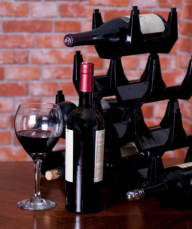 Premium Black Plastic Stackable Wine Rack Pack of 10 Wine Racks