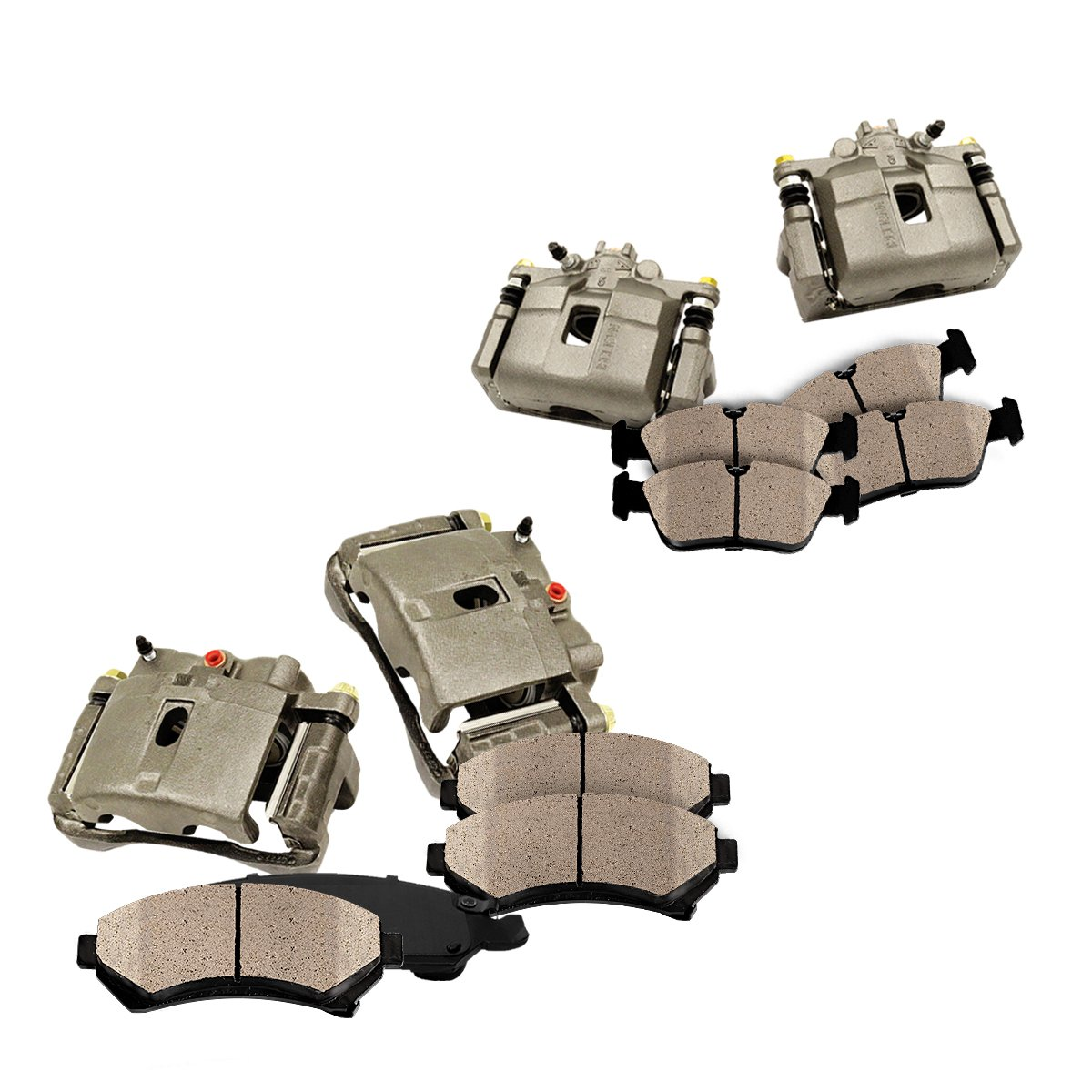 FRONT + REAR [ 4 ] Premium Grade OE Caliper + Ceramic Brake Pads Kit by Callahan Brake Parts