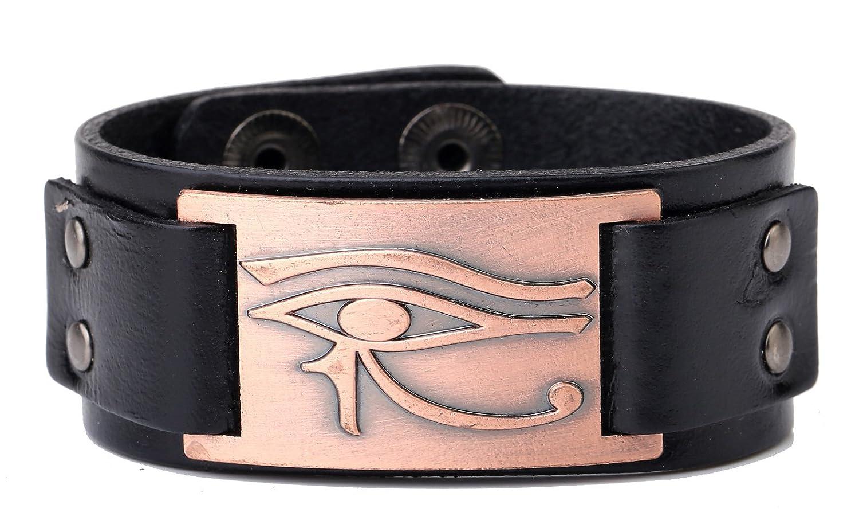 My Shape Eye of Horus Ra Thoth Udjat Leather Cuff Bracelet Egyptian Amulet Pagan Jewelry Black) Qiju B074V3PVP7_US