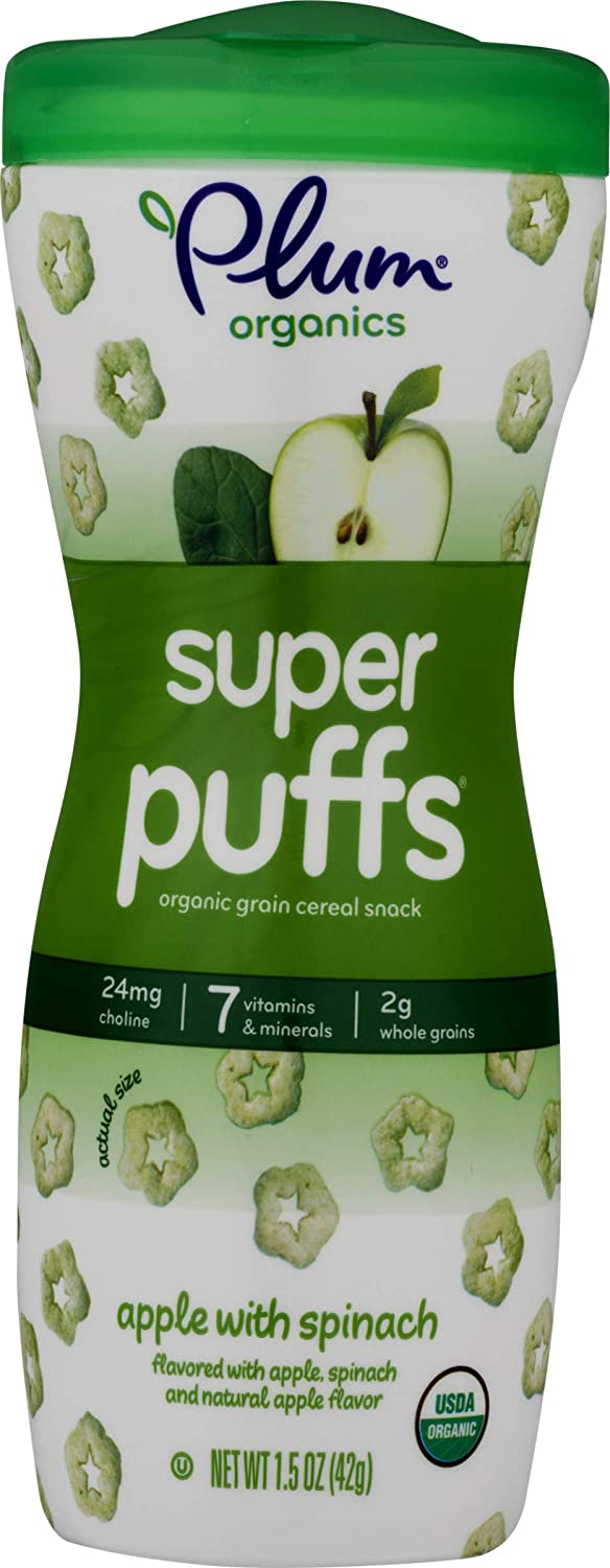 Plum Organics Super Puffs Apple With Spinach, 1.5 Oz (Pack Of 4)