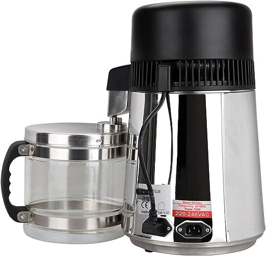 Ridgeyard agua destilador de acero inoxidable destilador purificador con jarra de vidrio 4L 750W agua purifica para el hospital de cocina casera y así sucesivamente: Amazon.es: Hogar