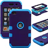 ZAFOORAH® Case Cover for Apple iPod Touch 4 4th Generation Multiple designs +Free Stylus+Screen Protector+Microfiber Cloth (Shock Proof Double Clip - 3 Layers - PURPLE/LIGHT BLUE)