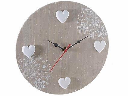 Assi Di Legno Decorate : Orologio da parete in legno shabby chic con cuori: amazon.it: casa e