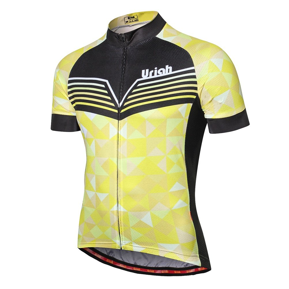 Uriah Men's Cycling Jersey Short Sleeve Reflective with Rear Zippered Bag Diamond Yellow Size XL