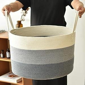 "XXXLarge Cotton Rope Basket 21"" x 12.9"" Baby Laundry Basket for Blankets Toys Blanket Storage Basket Decorative Floor Basket Cushions Storage Bins Thread Laundry Hamper with Long Handle"