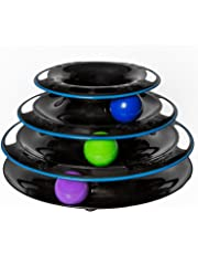 Amazing Cat Roller Toy By Easyology Pets: Super Fun 3-Level Tower Ball & Track Toy Endless Interactive Play & Mental Physical Exercise For Kittens Heavy Duty Lightweight Construction - In Black/White (Black)