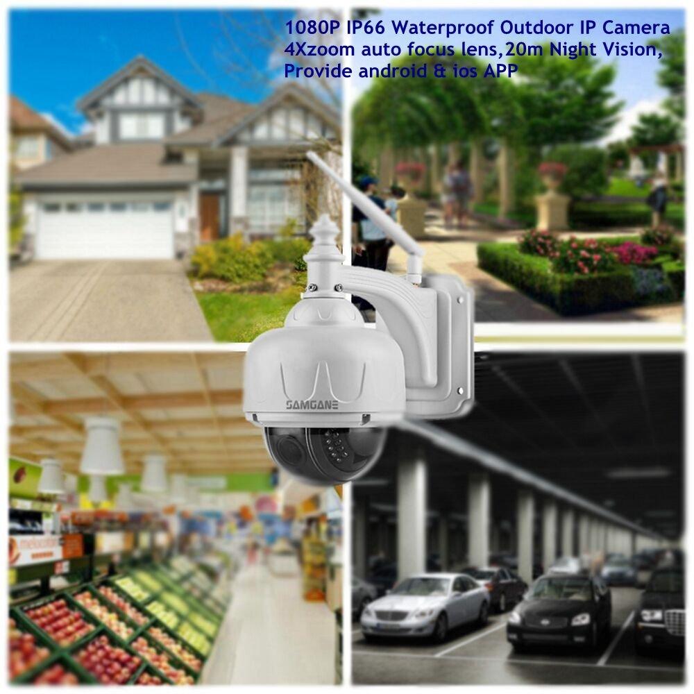 Samgane Outdoor PTZ Camera 1080P High Definition Wireless WIFI Security  Camera,4x Optical Zoom Auto-focus 2 0 Megapixel IR Night Vision IP66