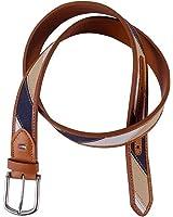 Tommy Hilfiger Men's Mixed Material Casual Belt, 42/105, Navy/Khaki