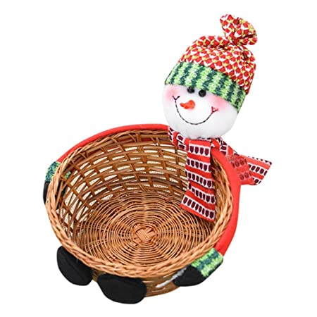 keepwin cute santa claussnowmanelk christmas candy storage basket gift bag for party
