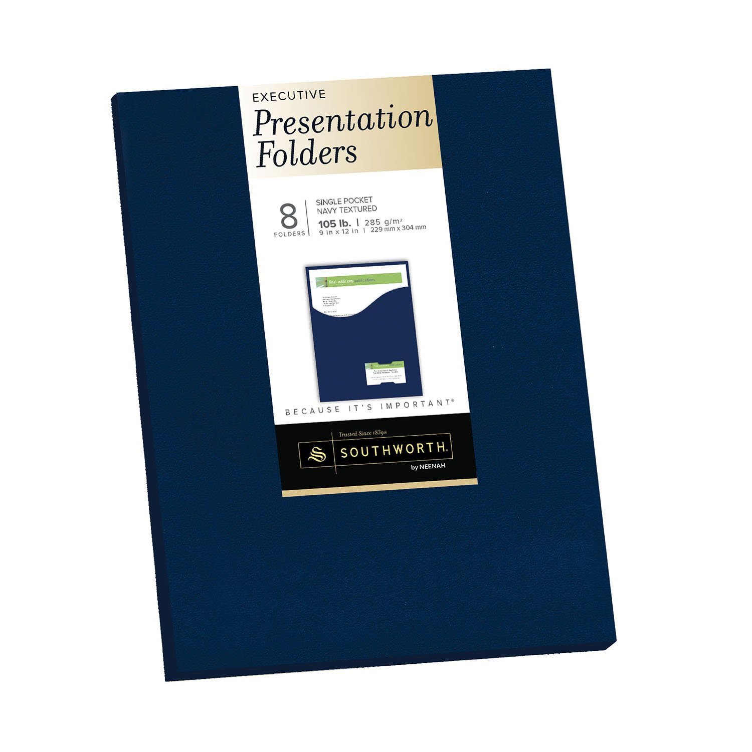 Southworth Resume Presentation Folders, 9'' x 12'', 105 lb/285 GSM, Single-Pocket, Felt Finish, Navy, Cardstock, 8 Ct. (98874) by Southworth