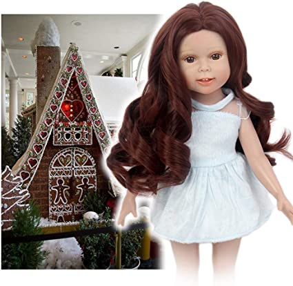 STfantasy Doll Wig for 18 Inches Doll Girls Brown Curly Synthetic Hair Girls Gift