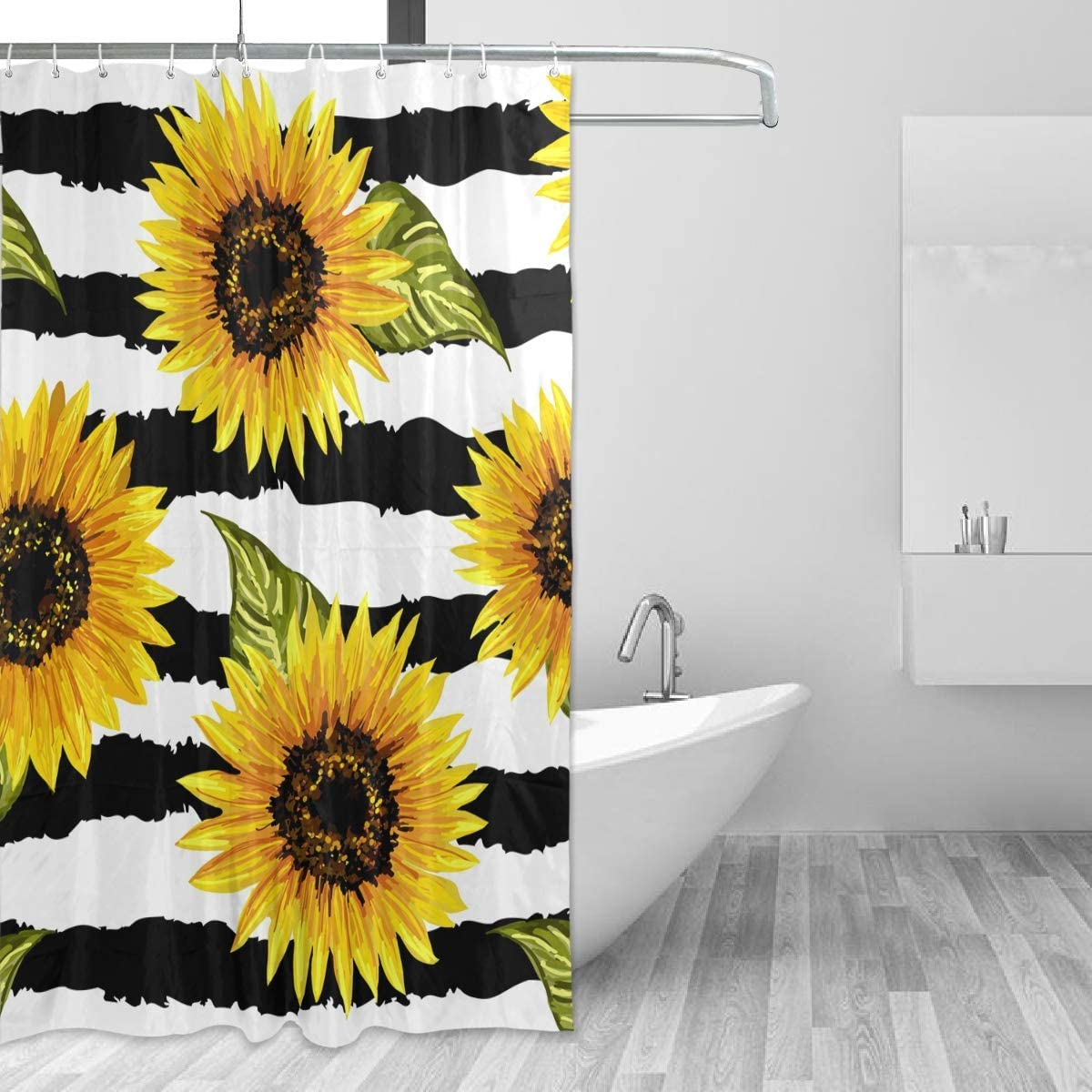 Sunflower flower black background Shower Curtain Bathroom Fabric /& 12hooks 71in