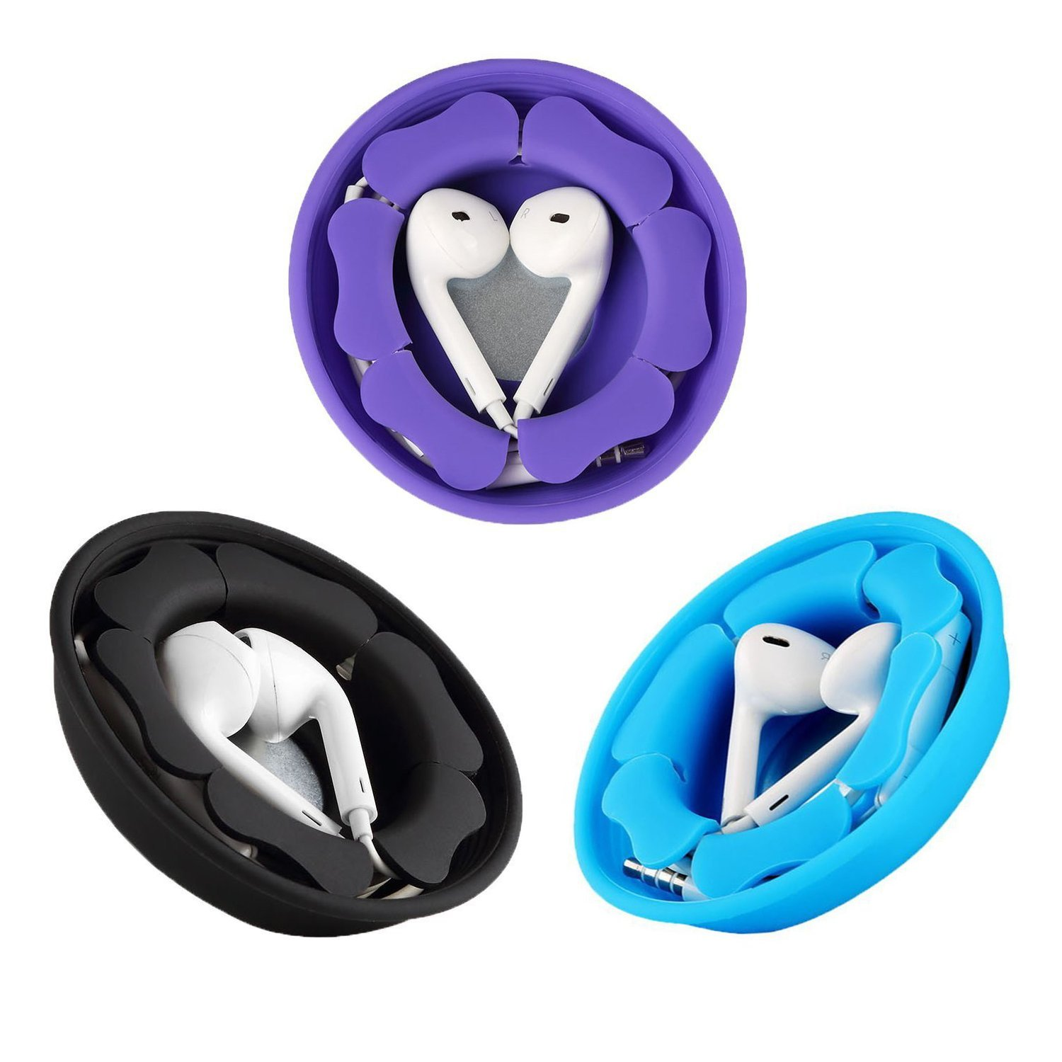 Earbud Holder Earphone Case (2 Pack), MAIRUI Tangle Free Cord Organizer Earbuds Wrap Silicone Magnetic Headphone Holder Storage Case Cable Keeper for iPhone Apple/Samsung/Sony Earphones (2 Black)