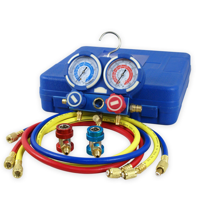 F2C HVAC A/C Refrigeration Kit AC Manifold Gauge Set Brass R134A Auto Service Kit w/ 5ft Colored Hoses, 1/4'' SAE Fitting