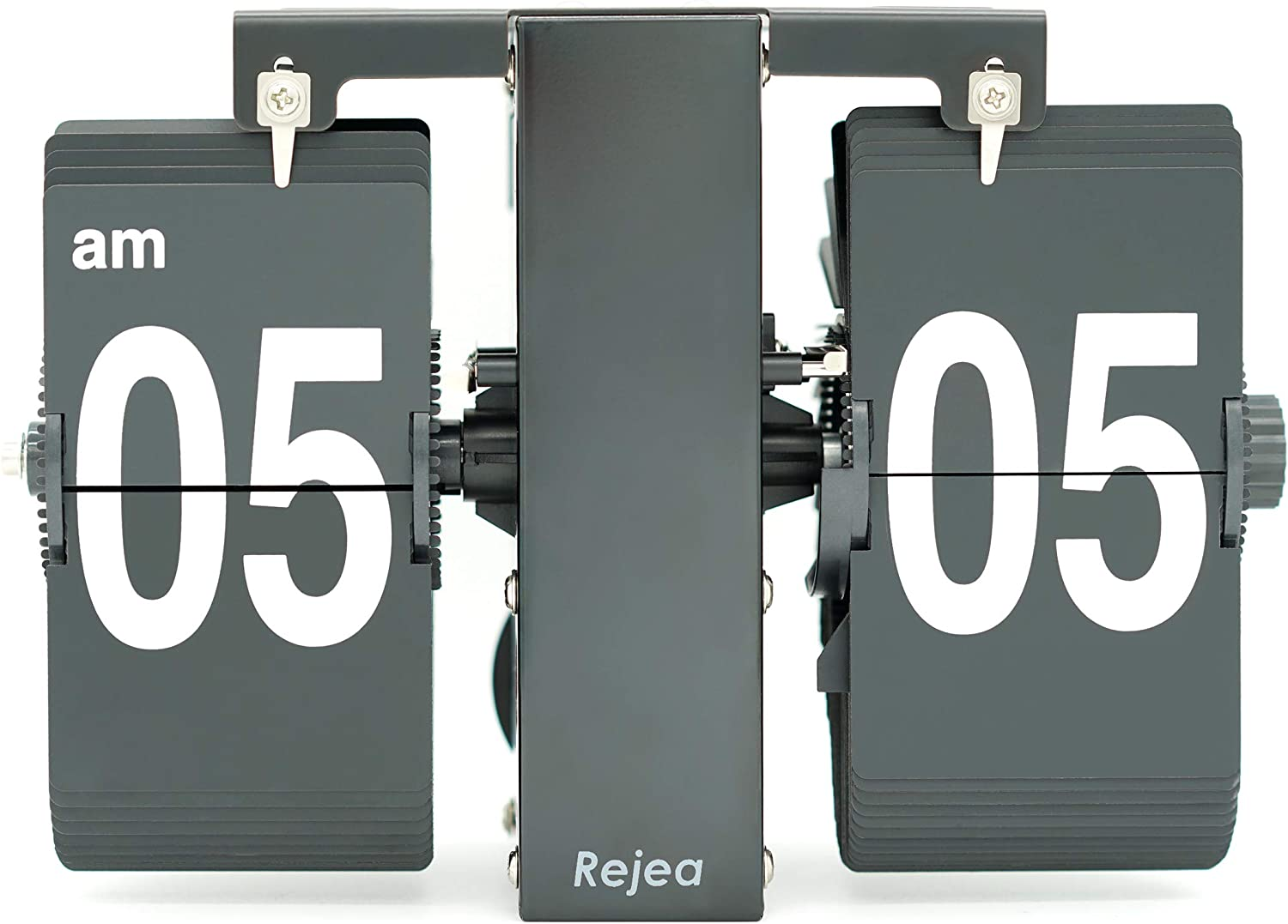 Rejea Flip Wall Clock Mechanical, 20.5x8.5x13.9cm, Digital Bold Number, Wall Mounted or Tabletop, Auto Flipping Down, Matte Finished for Office, Home (Stainless Steel Black - Medium)