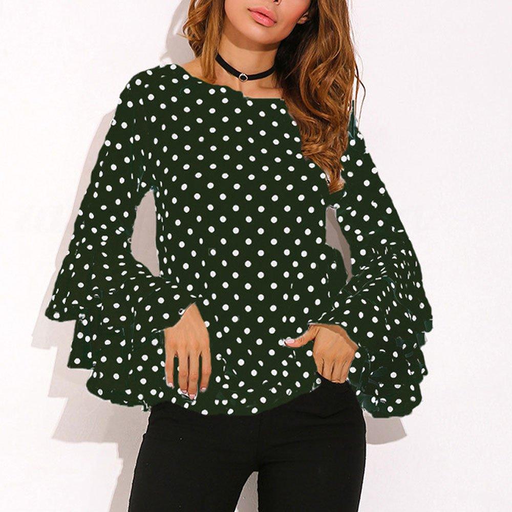 Anmain Top da Donna Camicia A Pois Ampia Camicetta Casual da Donna Campana Camicia A Maniche Lunghe Giacca Eleganti Donne