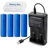4本 18650 充電池 3.7V 3000mAh充電式リチウムイオン電池 USB電池高速充電器 戦術懐中電灯 ヘッドライト用電池