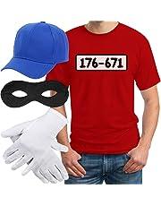 Panzerknacker Banditen Bande Herren Kostüm Shirt + MÜTZE + Maske + Handschuhe T-Shirt
