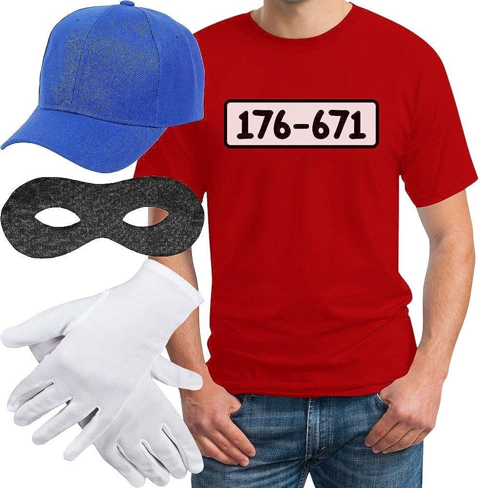 Handschuhe T-Shirt Panzerknacker Banditen Bande Herren Kost/üm Shirt M/ÜTZE Maske