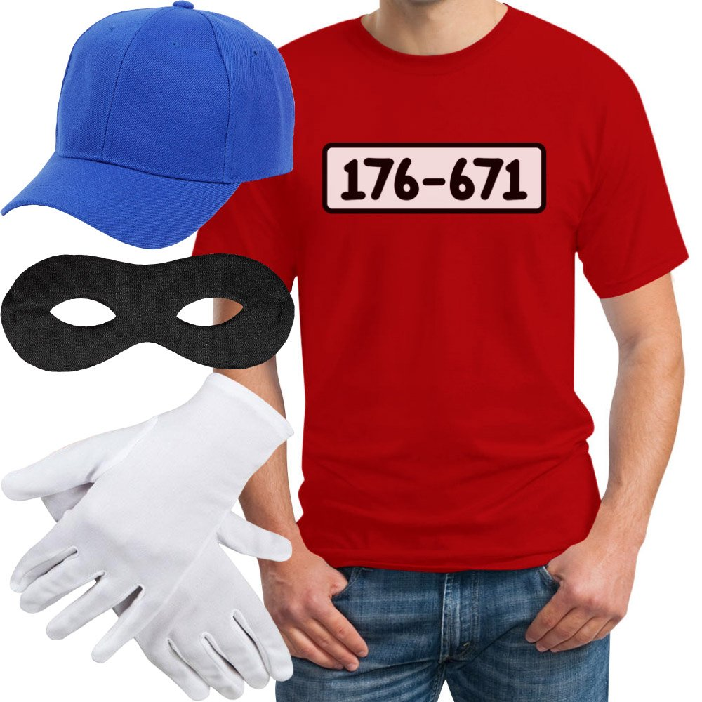 Panzerknacker Banditen Bande Herren Kostüm Shirt + MÜTZE + Maske + Handschuhe T-Shirt VSCSSCD6n